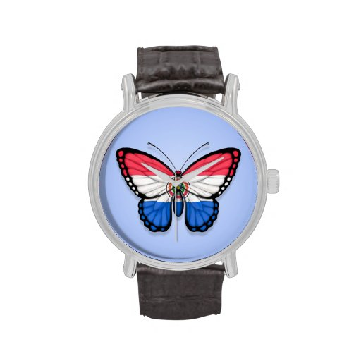Bandera de la mariposa de Paraguay en azul Relojes De Mano