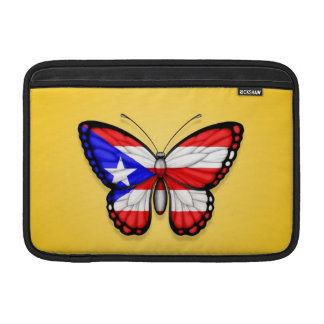 Bandera de la mariposa de Puerto Rico en amarillo Fundas Para Macbook Air
