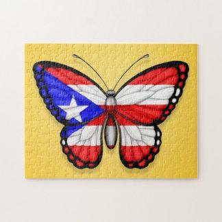 Bandera de la mariposa de Puerto Rico en amarillo Rompecabeza