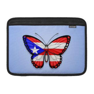 Bandera de la mariposa de Puerto Rico en azul Funda Macbook Air