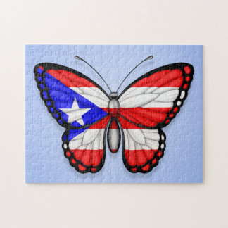 Bandera de la mariposa de Puerto Rico en azul Rompecabezas