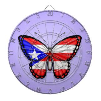 Bandera de la mariposa de Puerto Rico en púrpura Tablero Dardos