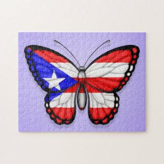 Bandera de la mariposa de Puerto Rico en púrpura Rompecabezas Con Fotos