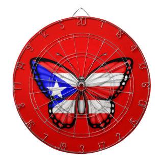 Bandera de la mariposa de Puerto Rico en rojo Tabla Dardos