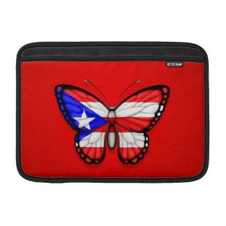 Bandera de la mariposa de Puerto Rico en rojo Fundas Para Macbook Air