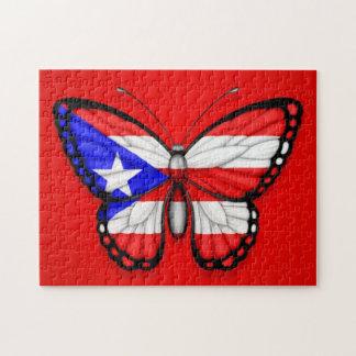 Bandera de la mariposa de Puerto Rico en rojo Rompecabeza