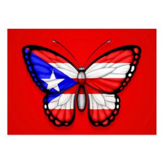 Bandera de la mariposa de Puerto Rico en rojo Tarjetas De Visita Grandes
