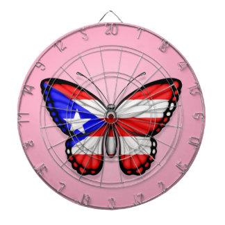 Bandera de la mariposa de Puerto Rico en rosa Tabla Dardos