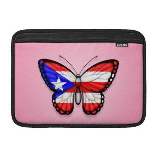 Bandera de la mariposa de Puerto Rico en rosa Funda MacBook