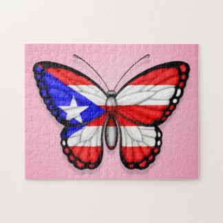 Bandera de la mariposa de Puerto Rico en rosa Puzzles Con Fotos