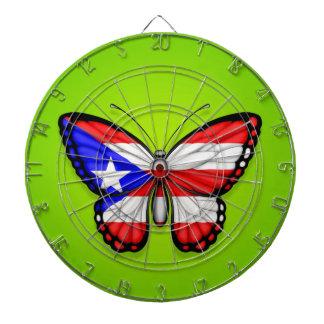 Bandera de la mariposa de Puerto Rico en verde Tablero Dardos