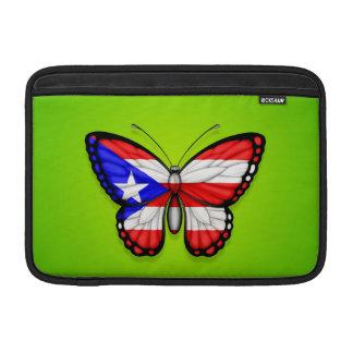 Bandera de la mariposa de Puerto Rico en verde Funda Macbook Air
