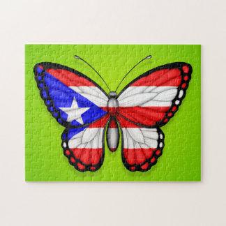 Bandera de la mariposa de Puerto Rico en verde Puzzle