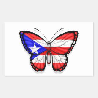 Bandera de la mariposa de Puerto Rico Pegatina Rectangular