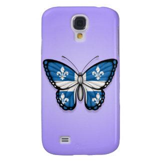 Bandera de la mariposa de Quebec en púrpura