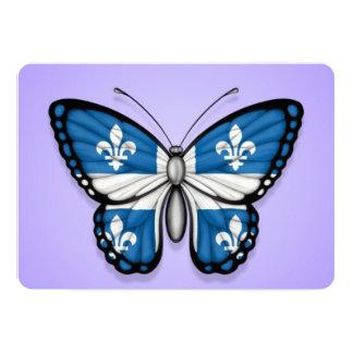 """Bandera de la mariposa de Quebec en púrpura Invitación 5"""" X 7"""""""