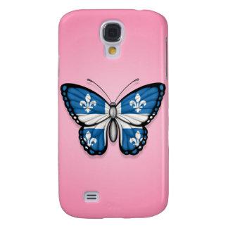 Bandera de la mariposa de Quebec en rosa