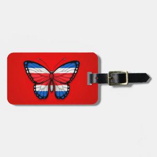 Bandera de la mariposa de Rican de la costa en roj Etiqueta Para Maleta