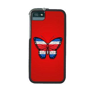 Bandera de la mariposa de Rican de la costa en roj