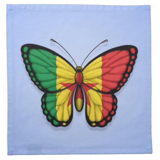Bandera de la mariposa de Senegal en azul Servilleta Imprimida