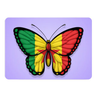 """Bandera de la mariposa de Senegal en púrpura Invitación 5"""" X 7"""""""
