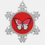 Bandera de la mariposa de Singapur en rojo