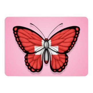 """Bandera de la mariposa de Suiza en rosa Invitación 5"""" X 7"""""""