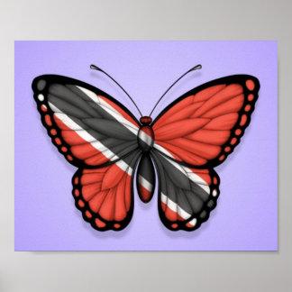 Bandera de la mariposa de Trinidad and Tobago en p Impresiones