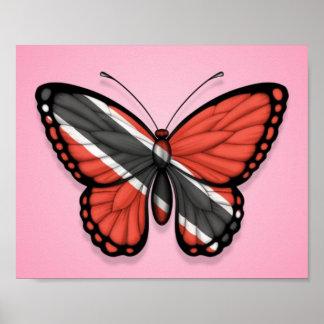 Bandera de la mariposa de Trinidad and Tobago en r Posters