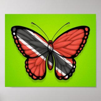 Bandera de la mariposa de Trinidad and Tobago en v Impresiones