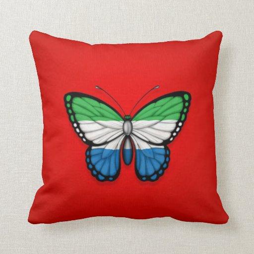 Bandera de la mariposa del Sierra Leone en rojo Almohadas