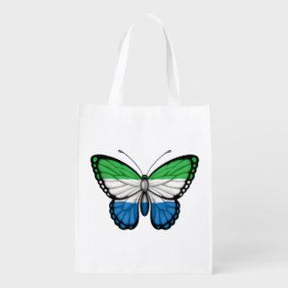 Bandera de la mariposa del Sierra Leone Bolsa Reutilizable