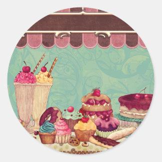 Bandera de la muestra del fiesta de la torta de la pegatina redonda