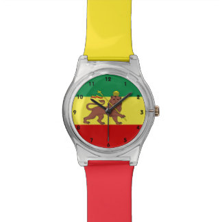 Bandera de la música del reggae de Rastafari Reloj