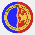 Bandera de la nación del Comanche Pegatina Redonda