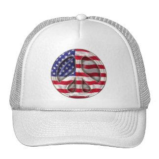 Bandera de la paz de los E.E.U.U. Gorras De Camionero