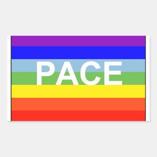 Bandera de la paz del arco iris pegatina rectangular