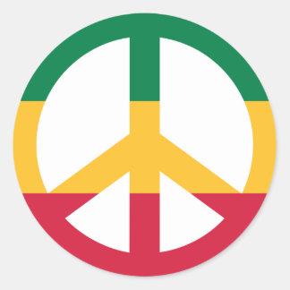 Bandera de la paz del reggae pegatina redonda