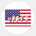 Bandera de la paz en el ASL Pegatina Redonda