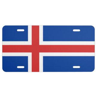 Bandera de la placa de Islandia Placa De Matrícula