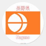 Bandera de la prefectura de Nagano Pegatinas Redondas