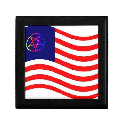 Bandera de la raya del Pentagram Joyero Cuadrado Pequeño