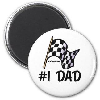 Bandera de la raza del papá #1 imán redondo 5 cm