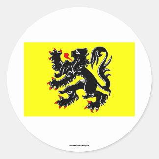 Bandera de la región de Flandes Pegatina Redonda