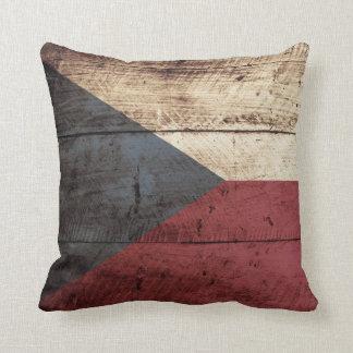 Bandera de la República Checa en grano de madera Cojín Decorativo