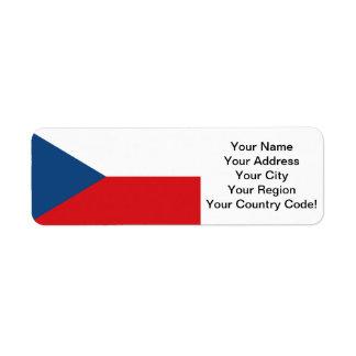 Bandera de la República Checa Etiqueta De Remitente