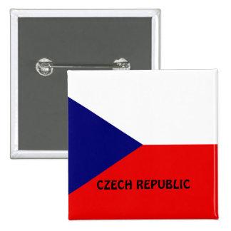 Bandera de la República Checa Pin Cuadrado