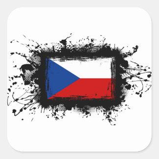 Bandera de la República Checa Pegatina Cuadradas