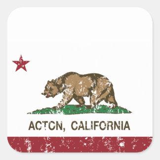 Bandera de la república de Acton California Pegatina Cuadrada