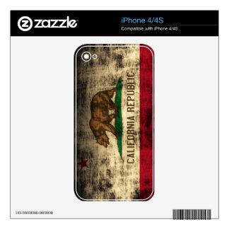 Bandera de la república de California del Grunge iPhone 4 Calcomanía